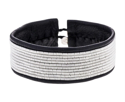 Wide Black Leather with Pewter Rows Bracelet - TWISTonline