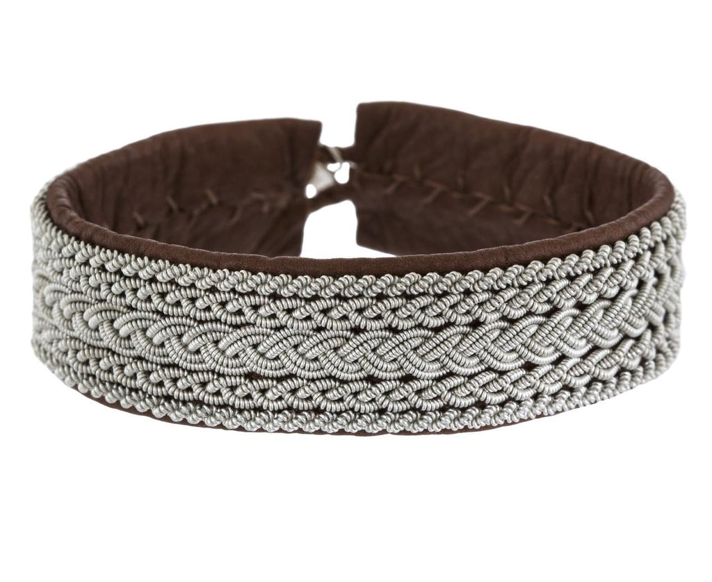 Five Row Braided Pewter Bracelet  zoom 1_maria_rudman_brown_leather_fire_row_pewter_brace