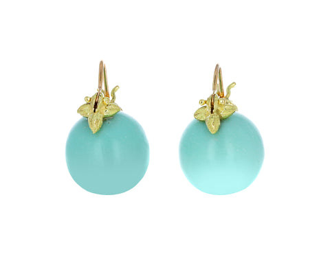 Smooth Robin's Egg Chrysoprase Earrings