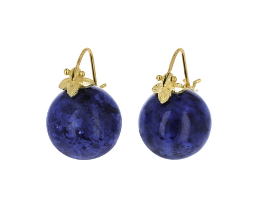 Smooth Lapis and Diamond Earrings