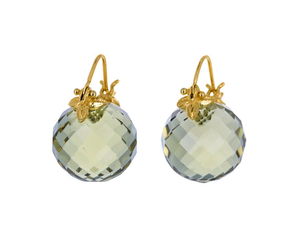Faceted Olive Quartz Earrings