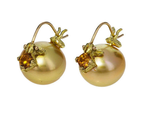 Golden South Sea Pearl and Sapphire Earrings - TWISTonline