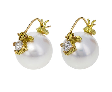 White South Sea Pearl Earrings with Diamonds - TWISTonline