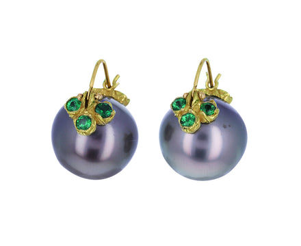 Tahitian Pearl and Paraiba Tourmaline Earrings