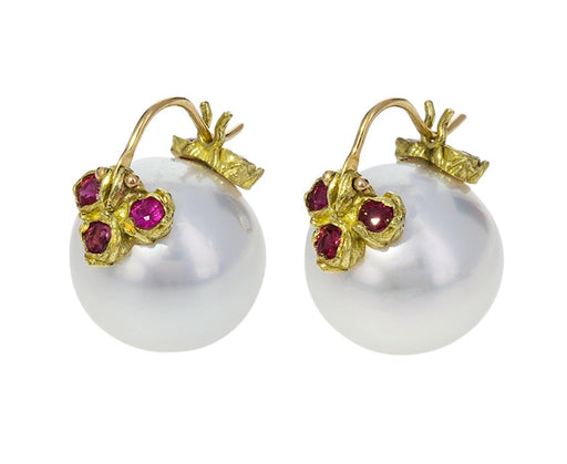 White South Sea Pearl and Ruby Earrings - TWISTonline