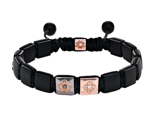 Black Onyx Rose Gold Diamond Square Bead Bracelet - TWISTonline