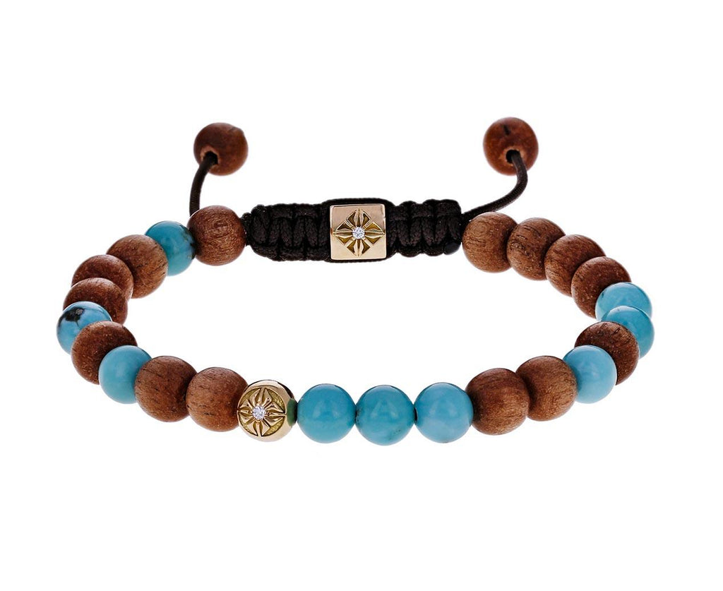 Turquoise, Gold, Light Ebony Bead Bracelet - TWISTonline
