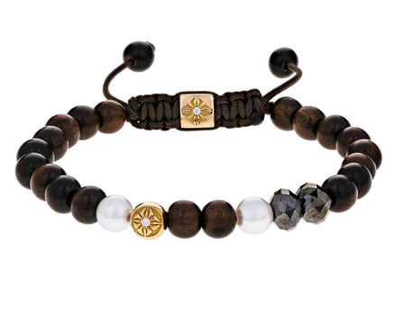 Black Diamond, Pearl, Gold Ebony Bead Bracelet - TWISTonline