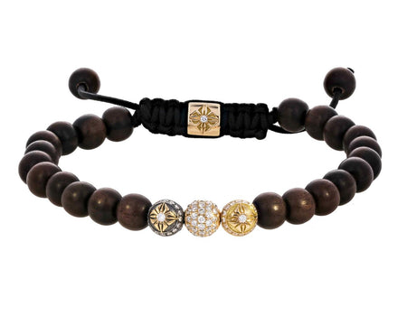 Triple Gold Diamond and Ebony Bead Bracelet - TWISTonline
