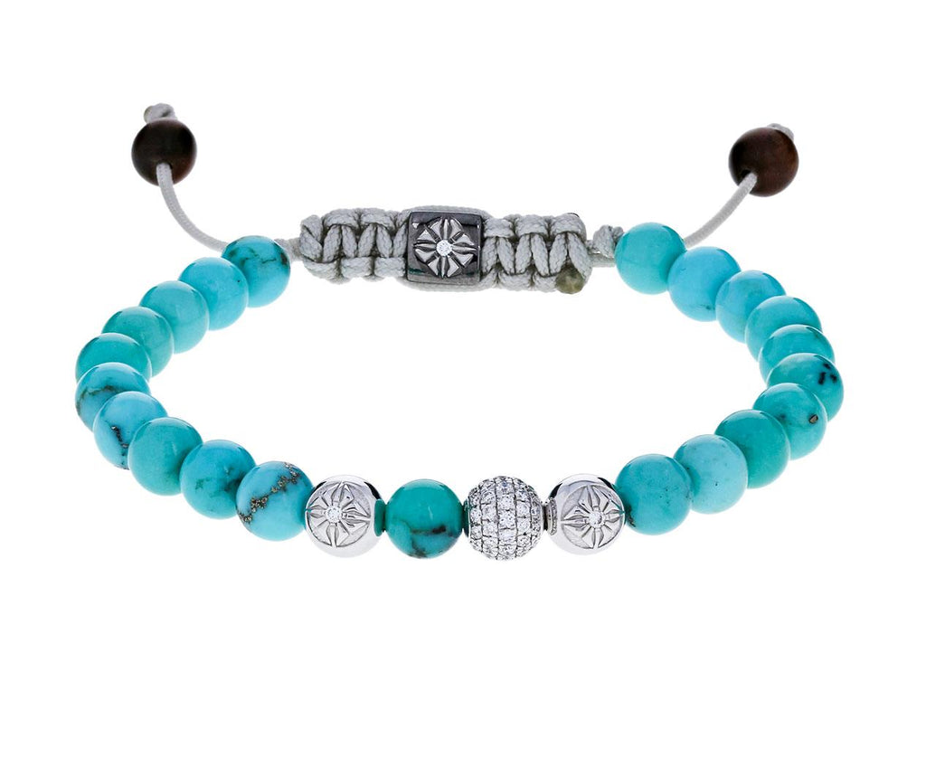 Turquoise and Diamond Bead Bracelet - TWISTonline