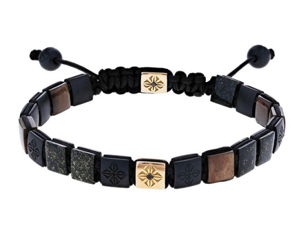 Ceramic, Brown Sapphire, Black Jade, Diamond Bead Bracelet - TWISTonline