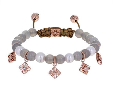 Pear, Moonstone, Rose Gold Star Charm Bead Bracelet - TWISTonline