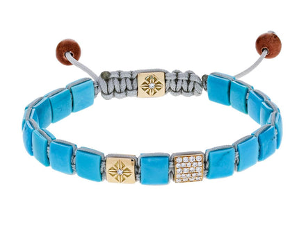 Turquoise and Diamond Square Bead Bracelet - TWISTonline