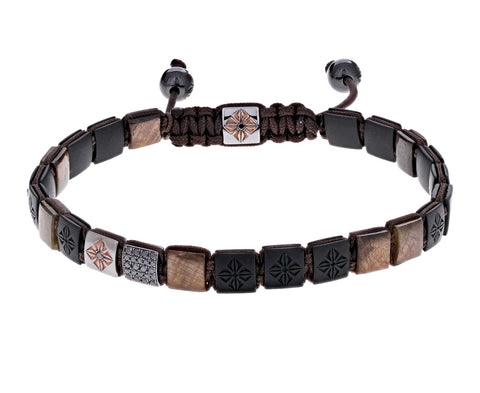 Ceramic, Brown Sapphire, and Black Diamond Bead Bracelet - TWISTonline