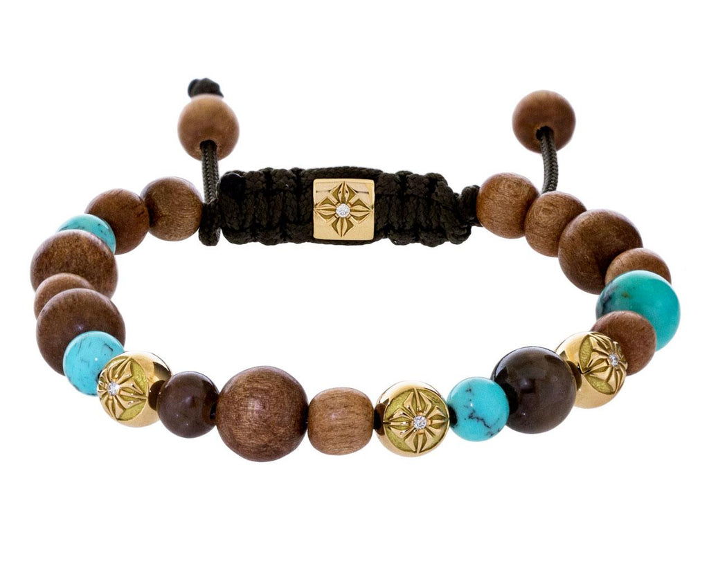 Turquoise, Brown Sapphire, Ebony, and Gold Bead Bracelet - TWISTonline