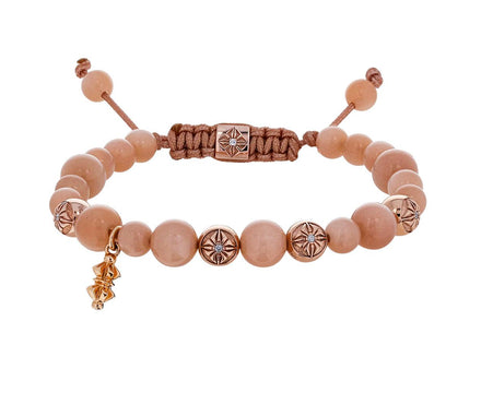 Peach Moonstone, Rose Gold, Micro Dorje Bead Bracelet - TWISTonline