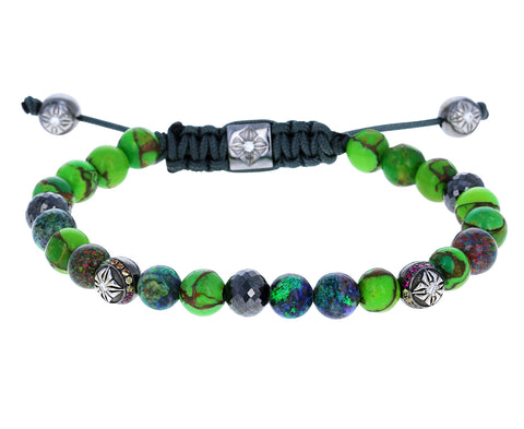 Green Turquoise, Opal, Black Diamond Beaded Bracelet
