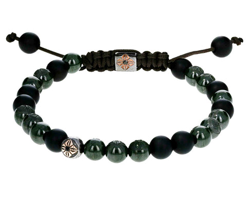 Green Ceramic and Black Onyx Bead Bracelet