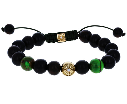 Green Turquoise, Ebony and Gold Diamond Beaded Bracelet