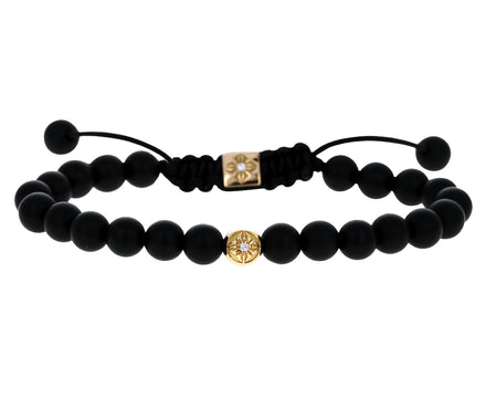 Onyx and Yellow Gold Star Bead Bracelet