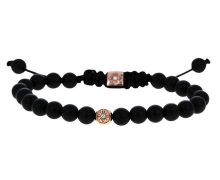 Onyx and Rose Gold Star Bead Bracelet