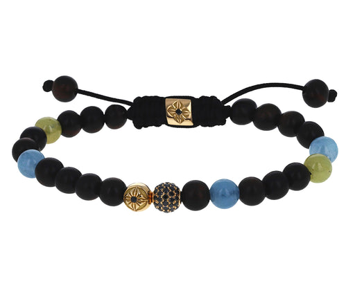 Black Diamond, Milky Aquamarine, Yellow Sapphire and Ebony Beaded Bracelet