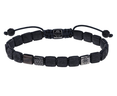 Carbon Fiber, Black Diamond and Gray Sapphire Bead Bracelet
