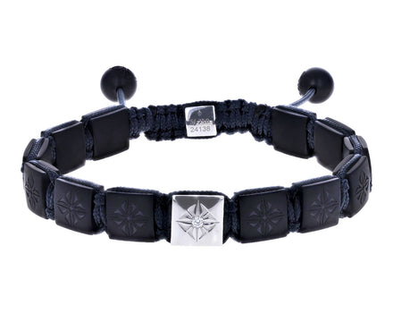 Matte Black Ceramic and White Gold Beaded Bracelet