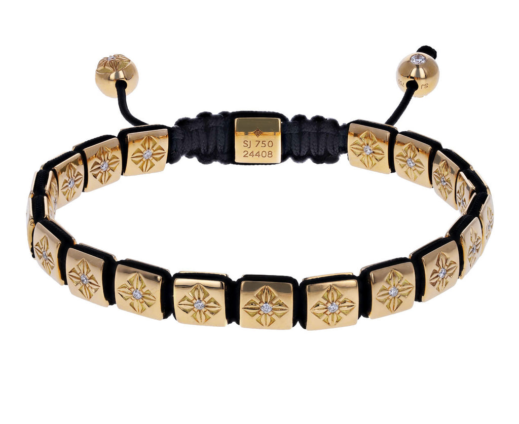 Yellow Gold Square Lock Bead Bracelet