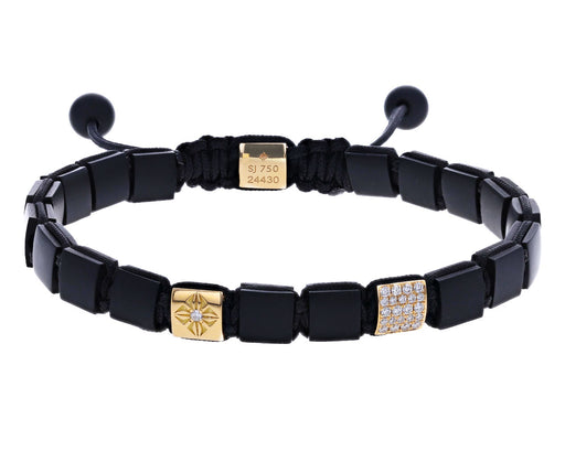 Onyx, Gold and Diamond Square Bead Bracelet
