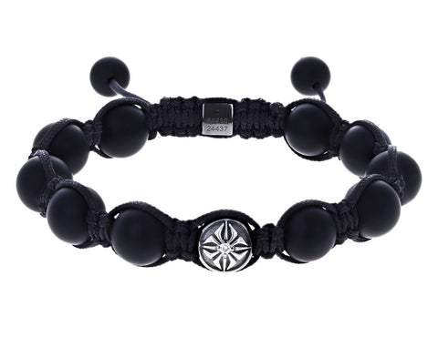 Black Rhdoim White Gold and Round Onyx Beaded Bracelet