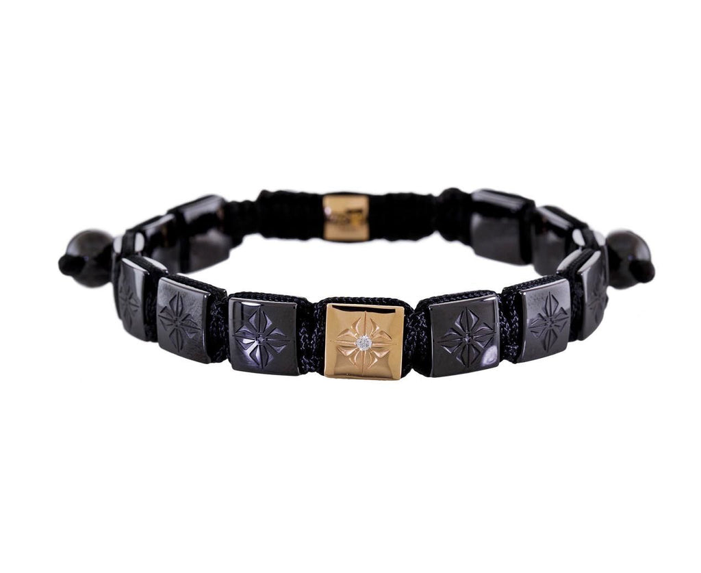 Square Ceramic and Rose Gold Lock Bead Bracelet zoom 1-shamballa-bracelet