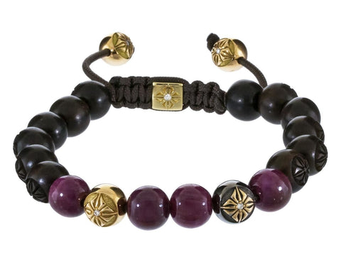 Ruby Ebony and Gold Bead Bracelet - TWISTonline