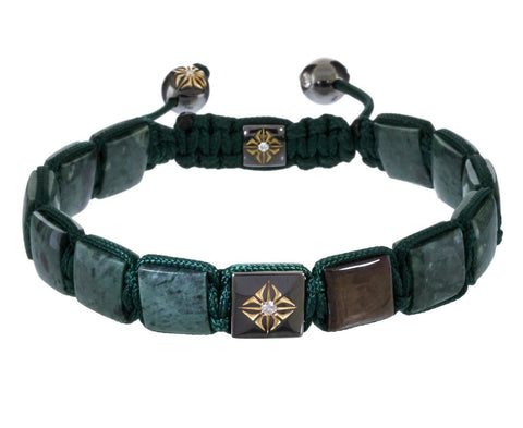 Green Marble Brown Sapphire and Gold Square Bead Bracelet - TWISTonline