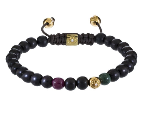 Ruby Marble Ebony and Gold Bead Bracelet - TWISTonline