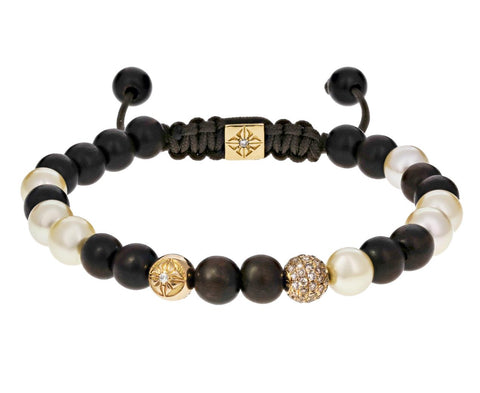 Akoya Pearl, Gold, Diamond, Ebony Bead Bracelet - TWISTonline