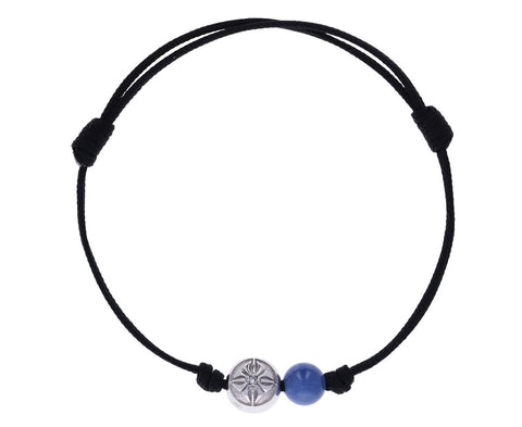 Blue Sapphire and White Gold Orb Bead Bracelet