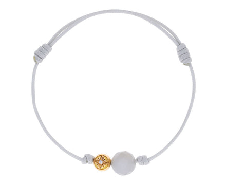 Gray Moonstone and Yellow Gold Bead Bracelet