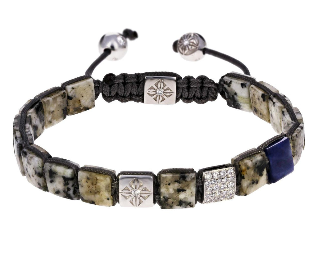 White Granite Blue Sapphire and White Gold Bead Bracelet zoom 1_shamballa_gold_diamond_sapphire_granite_beaded_b