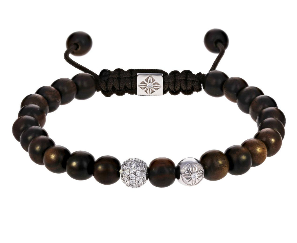 Ebony, Diamond Pavé and White Gold Bead Bracelet  zoom 1_shamballa_gold_diamond_ebony_beaded_bracelet