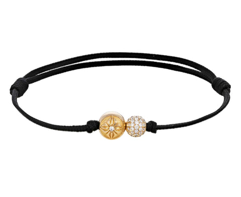 Yellow Gold Double Diamond Bead Bracelet - TWISTonline