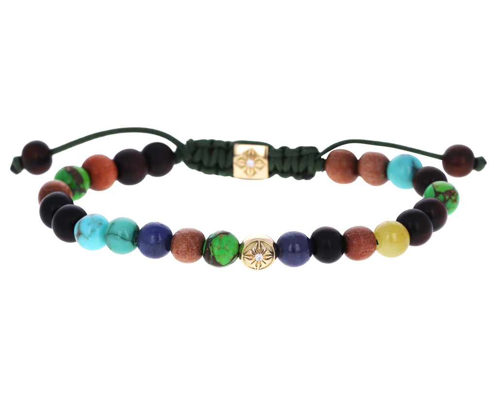 Mixed Gem, Ebony and Diamond Bead Bracelet