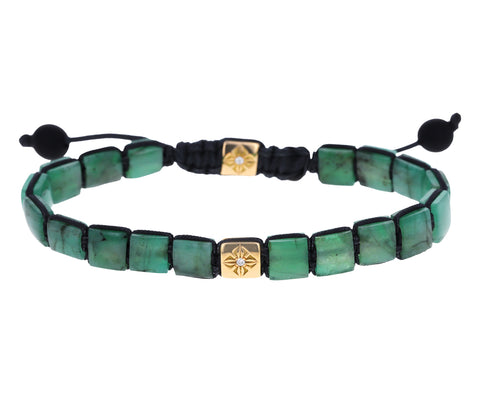 Emerald and Diamond Bead Bracelet