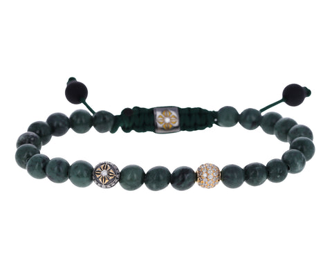 Green Marble, Onyx and Diamond Bracelet