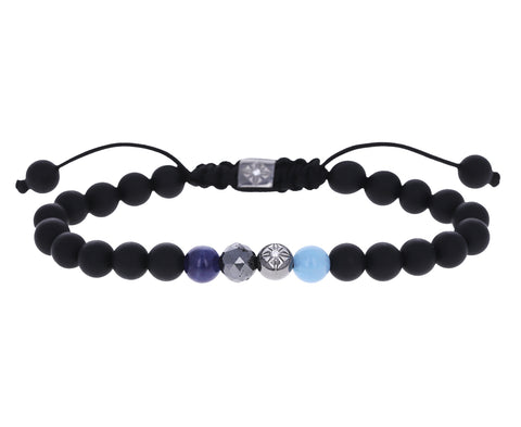 Blue Sapphire, Milky Aquamarine, Black Diamond and Onyx Bead Bracelet