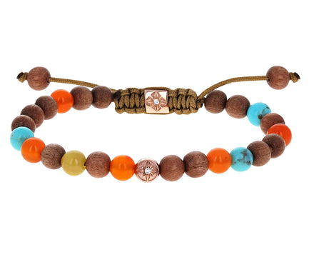 Light Ebony, Turquoise and Orange Chalcedony Beaded Bracelet