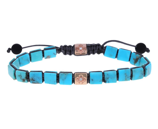 Turquoise and Diamond Bead Bracelet