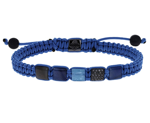 Sapphire, Black Diamond and Milky Aquamarine Beaded Bracelet