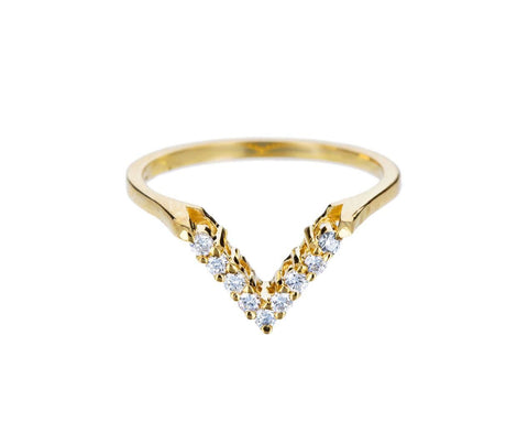 Yellow Gold Diamond Chevron Band - TWISTonline