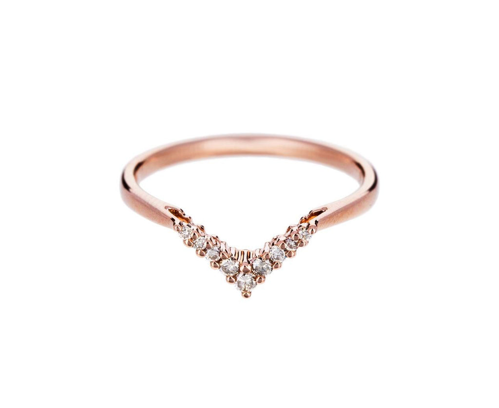 Rose Gold Champagne Diamond Petit Chevron Ring zoom 1_anna_sheffield_gold_diamond_petit_chevron_band_r